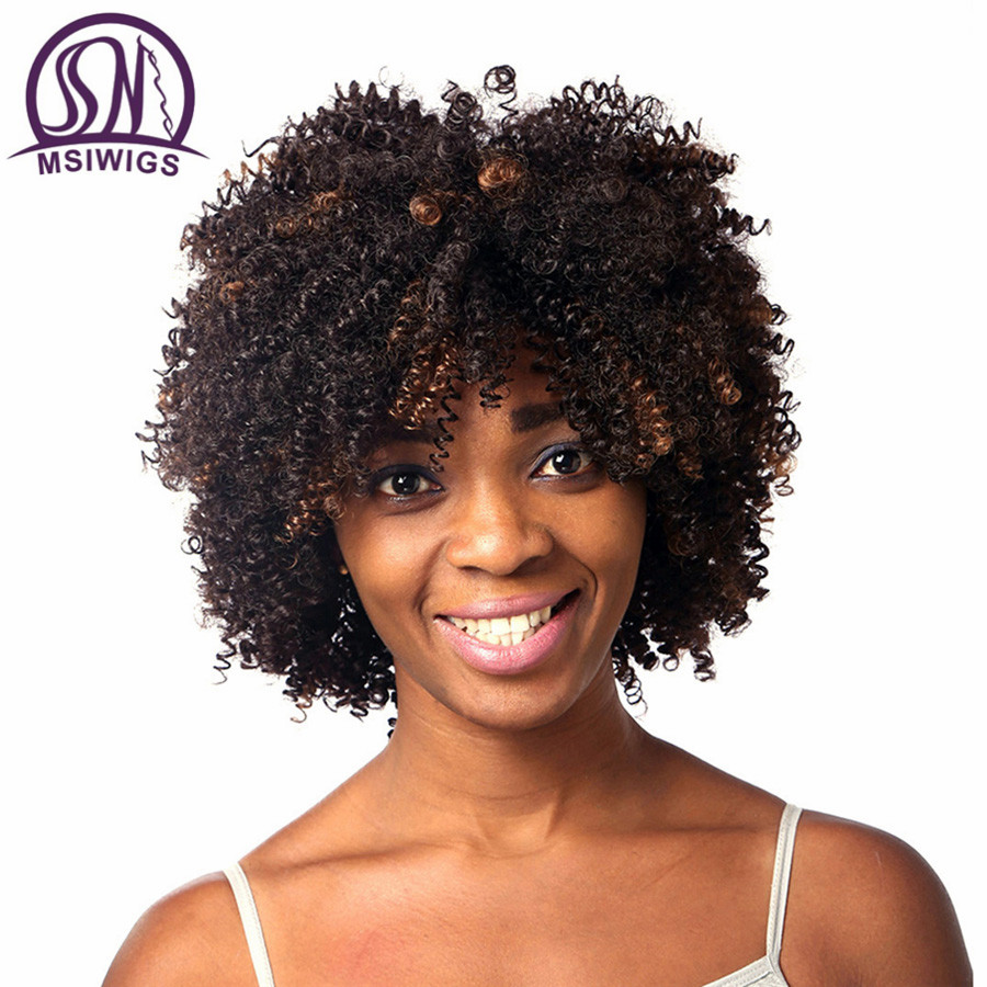 MSIWIGS Afro Curly Wig Short Ombre Hair Brown Synthetic Wigs For Black Women African American Female Haircut Hair