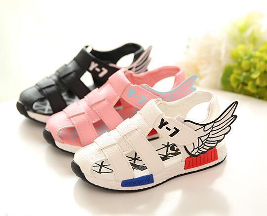 2016 moda sandálias para meninas criança sandálias meninos sapatos sandálias femininas asas meninos sapatos