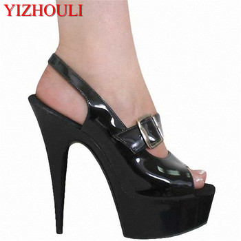 Spring and summer fashion color block single shoes open toe sandal 15cm thin heels lady high-heeled pumps