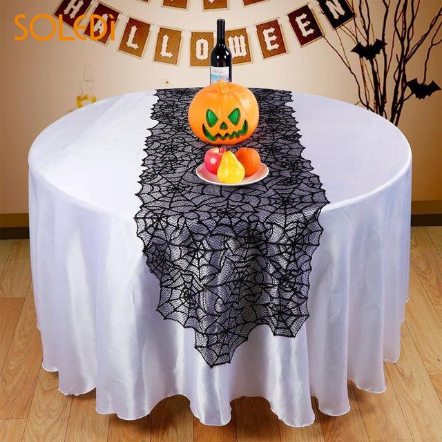 Halloween Dekorasi Meja Runner Hitam Renda Taplak Meja Light Bulb