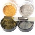 1 Caja de Espejo de Uñas Glitter Polvo de Uñas de Arte Glitters Pigmento de Cromo Oro/Plata