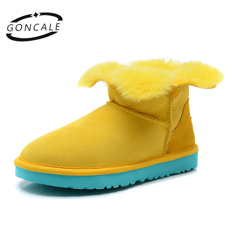 GONCALE Fashion Sheepskin leather real Wool fur woman winter ankle snow boots for women short winter shoes  girls shoes unisex insoles for snow boots shoe pad real fur natural sheepskin thermal insoles for winter boots shoes keep warm brioche