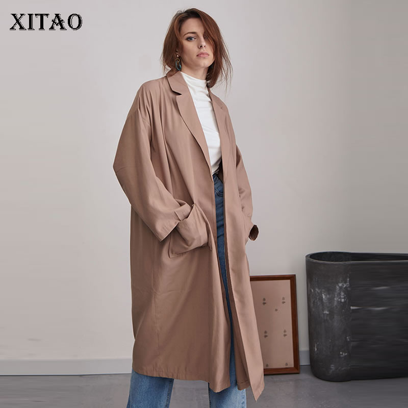 [XITAO] 2019 Spring Fahion Turn-down Collar Full Sleeve Loose Coat Female Solid Color Long Pocket Open Stitch   Trench   DLL3179