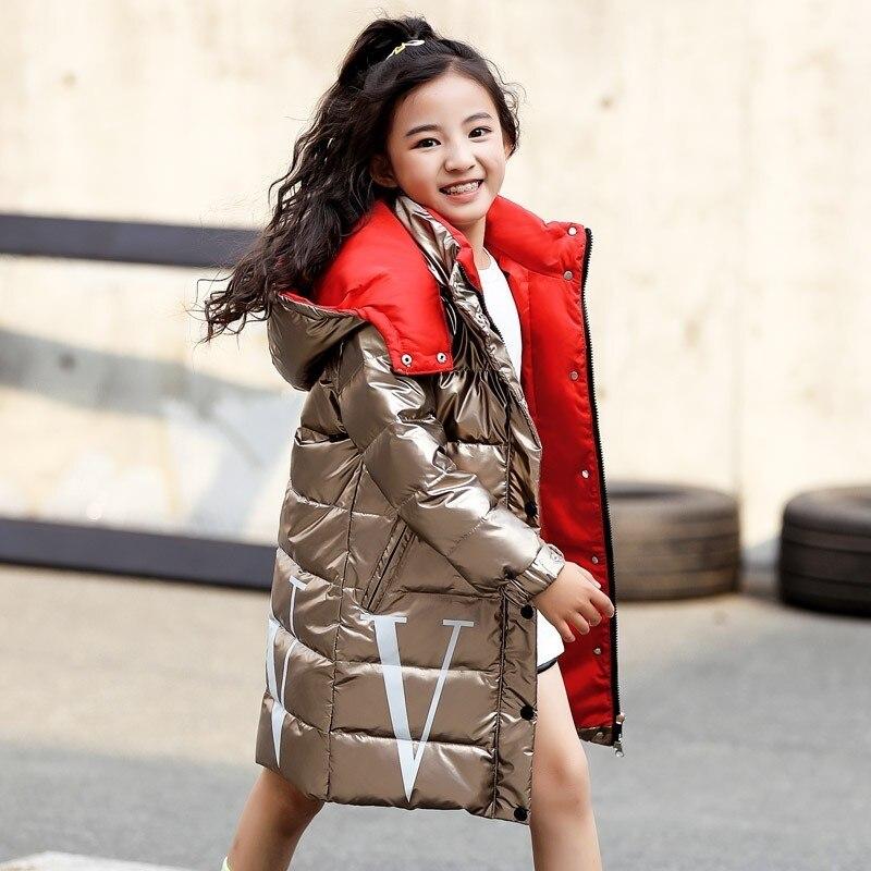 2019 г. Детские зимние теплые белые куртки пуховики Одежда для девочек водонепроницаемая одежда пальто с капюшоном для детей до 30 градусов, парка
