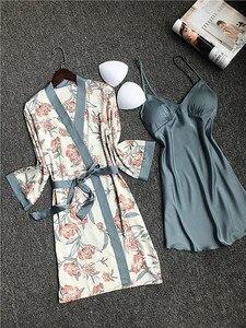 Image 5 - Daeyard piżama zestaw koszula nocna szata zestaw kobiety Nighty jedwabny szlafrok dla pań koszula nocna bielizna nocna Femme seksowna bielizna szlafrok