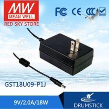 Бренд MEAN WELL представляет GST18U09-P1J 9V 2A meanwell GST18U 9V 18W AC-DC постоянного тока высокой надежности промышленные адаптера переменного тока