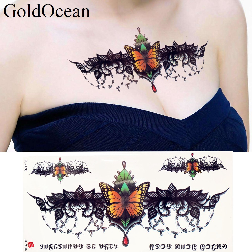 Lace Butterfly Jewel Pendant Temporary Tattoo Stickers Girl Body Chest Art Drawing Fake Tattoo Women Neck Waist Tatto Prom Paste