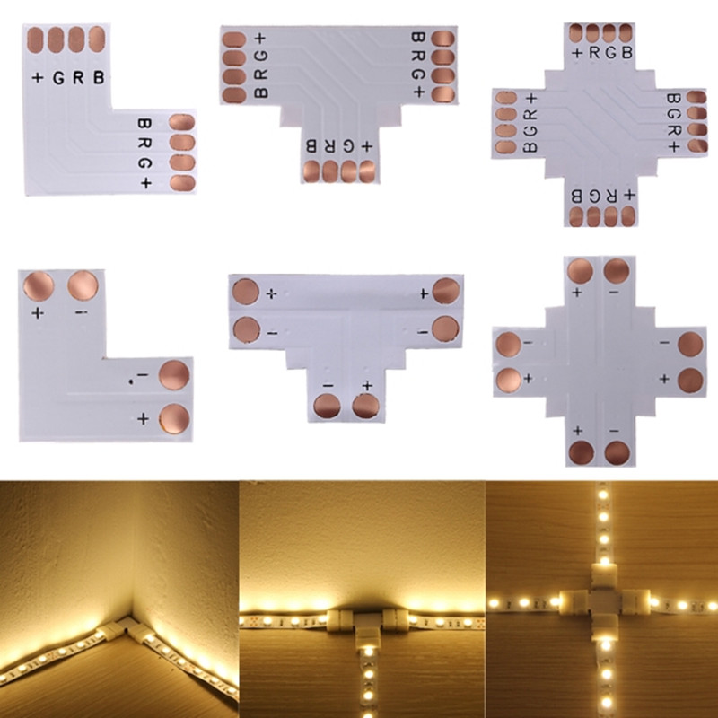 hot sell 5pcs 2Pin 3Pin 4Pin LED Connector 8mm 10mm L/T/X Shape FPC Free Welding Adapter Use For 3528 2812 5050 RGB Light Strip tanbaby 1pcs lot 10mm 4pin l shape led connector for 5050 rgb color led strip no welding strip connector for rgb strip light