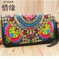 XIYUAN BRAND New National Ethnic Embroidery Wallet Double Side Embroidered Flower Coins Purse Clutch Bags Women's Small Handbag