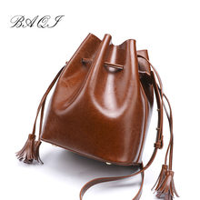 BAQI Women Shoulder Bags Crossbody Bag 2019 Fashion Genuine Cow Leather Luxury Women Messenger Bag Ladies Girls Totes Bucket bag недорго, оригинальная цена