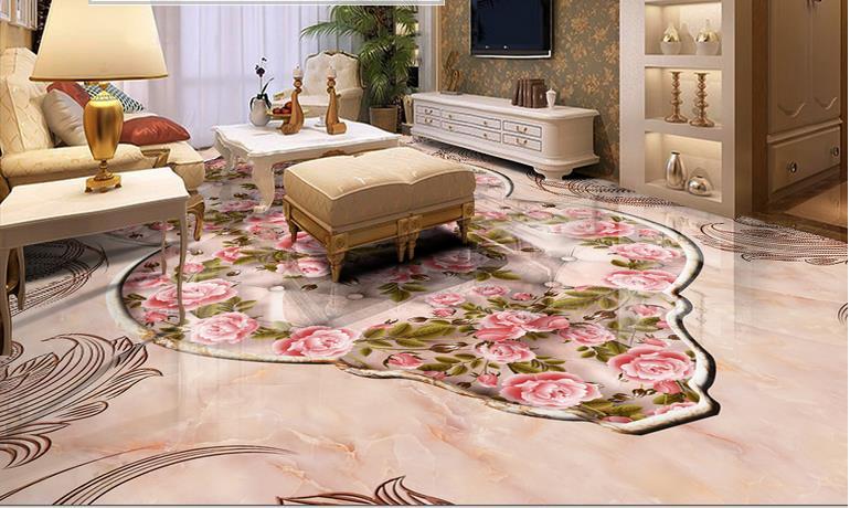 custom 3d flooring European style marble wallpapers 3d ...