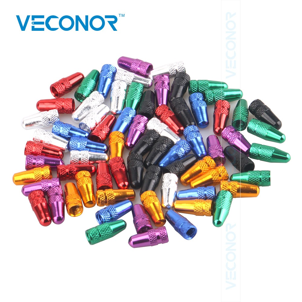 Veconor 120PCS pack multi-color bike bicycle road racing presta aluminum valve cap dust covers MTB