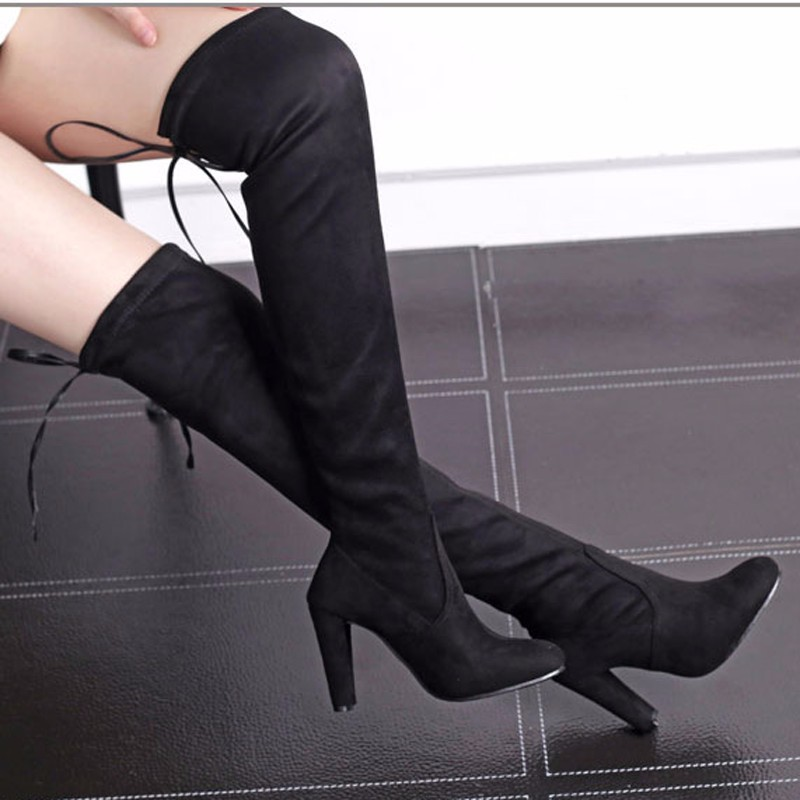 a53a70010ad55 New Women boot fashion Suede Women Over The Knee Boots Lace Up Sexy ...