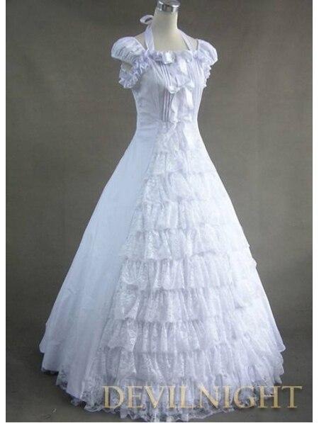 Классическое белое платье с кружевом и бантом в готическом викторианском стиле, платья размера плюс - Цвет: Многоцветный