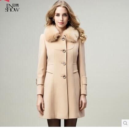 India show genuine cashmere coat female winter 2015 new fox fur ...