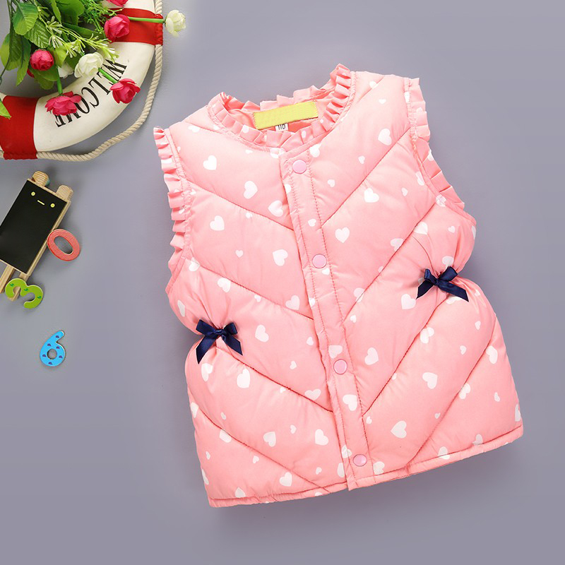 Autumn Winter Warm Jacket For Kids Thickened Cute Printed Children Coats Outerwear Sleeveless Clothes Down Vest Baby Girl Jacket