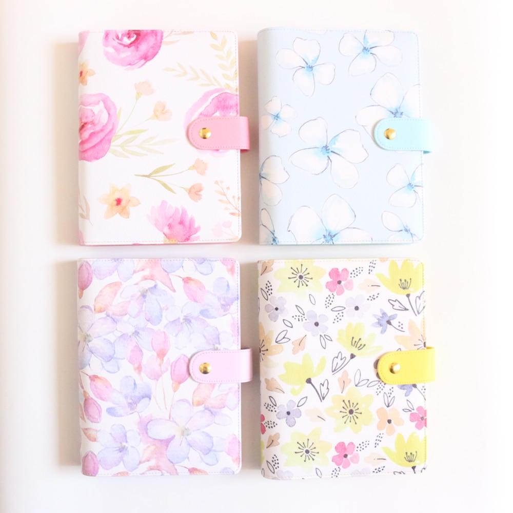 Cute Cartoon Flower School Student Spiral Notebooks Stationery,fine Girl's Leather Personal Binder Planner Agenda Organizer A5A6