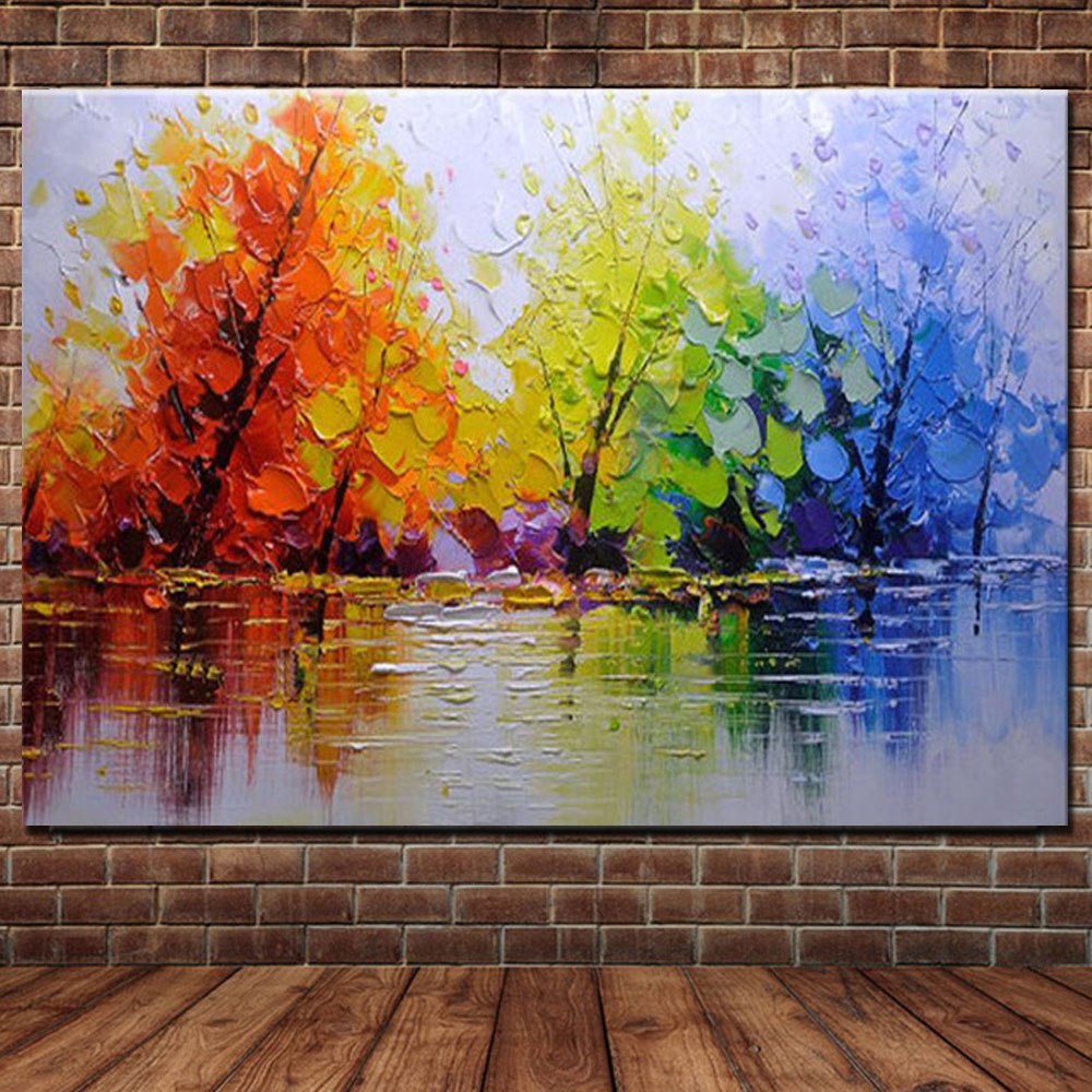 Buy 100% Handpainted Color Tree Knife Modern Oil Painting On Canvas Wall Decor Wall Art Wall Pictures For Living Room Home Decor for $29.49 in AliExpress store
