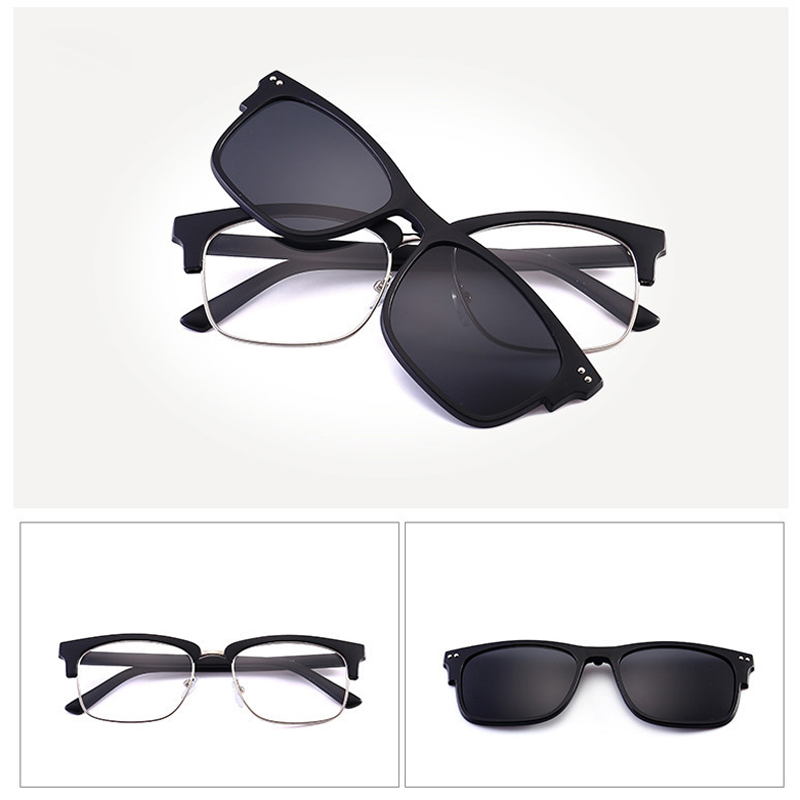 530717af85 Comprar Gafas de sol polarizadas con 3 PCs unids Clips magnéticos TR  montura Clip en gafas imán Casual Optical miopía gafas Online Baratos.