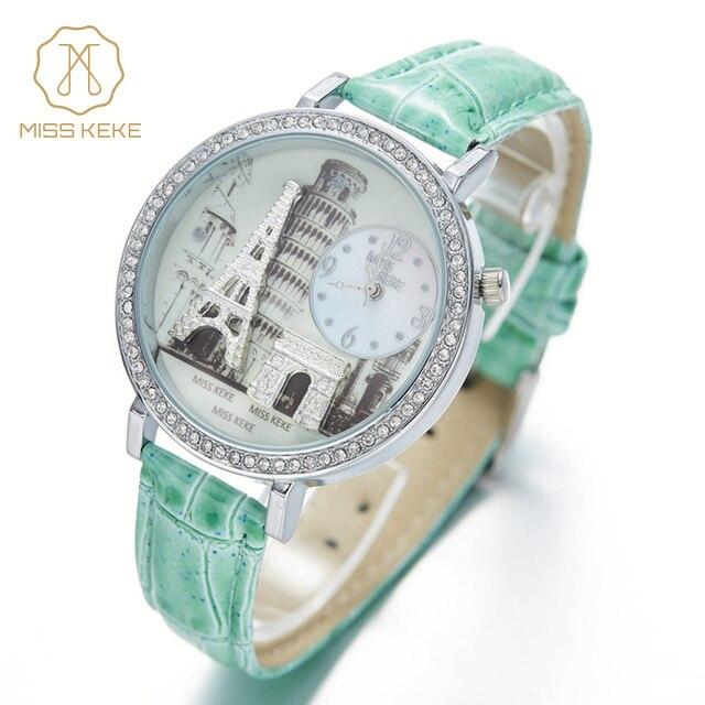 Miss Keke Fashion Children Cartoon Watches Leather 3D Clay Quartz Watch Analog Girl Diamond Kid Wristwatch 1309 montre enfant