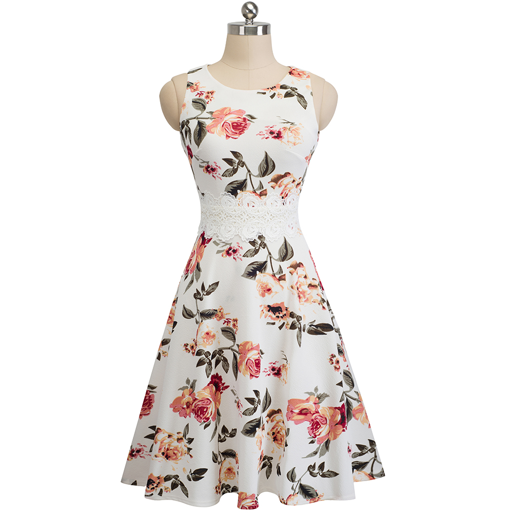 Nice-forever Vintage Elegant Embroidery Floral Lace Patchwork vestidos A-Line Pinup Business Women Party Flare Swing Dress A079 69