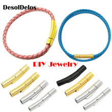 1PC Stainless Steel Clasp Tube for Round Leather Cord 2mm 3/4/5/6mm Bracelet Necklace Connector DIY Jewelry Snap Lock End Caps(China)