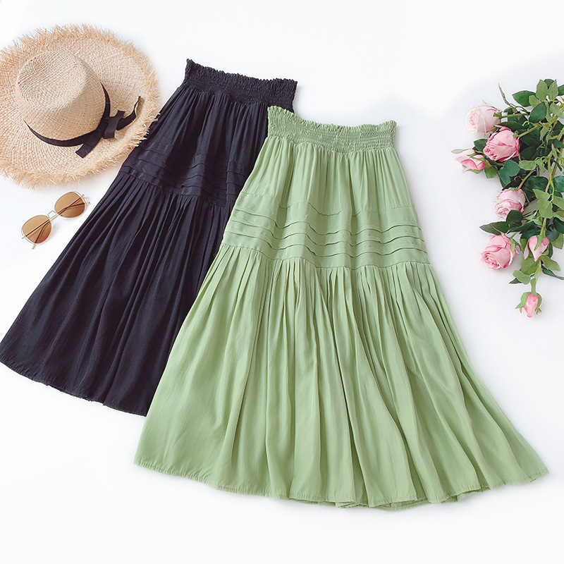 Wasteheart Summer Green Khaki Women Skirt High Waist Mid-Calf Long Skirt Clothing Mesh A-Line Sexy Skirts Plus Size Pleated