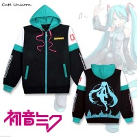 2017 Hatsune Miku Hooded Sweatshirt Outwear Coat Women Clothing Cosplay Costume Girls Clothes Spring Zipper Coats