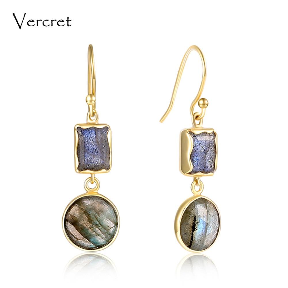 цена на Vercret 18k gold 925 sterling silver drop earring labradorite dangle long earrings jewelry gift for women sp