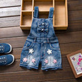 Spring Summer Girl Jumpsuit Cute Sweet Fashion Washed Kids Girls Jeans Denim Romper Jumpsuits Straps Short Jeans Cowboy