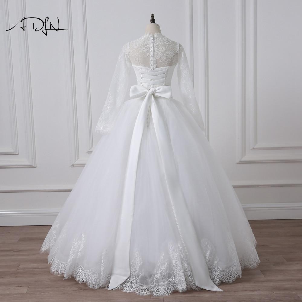 2016 Elegant Långärmad Bröllopsklänning Bollfärg Trädgård - Bröllopsklänningar - Foto 2