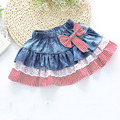 Stripepersonality children's wear jeans skirt  butterfly lace girl baby bust skirt stripe bowknot ruffled girls fashion skirt