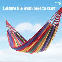 F Children Adults Portable Hammocks Garden Sports Home Travel Camping Swing Canvas Stripe Hang Bed Outdoor