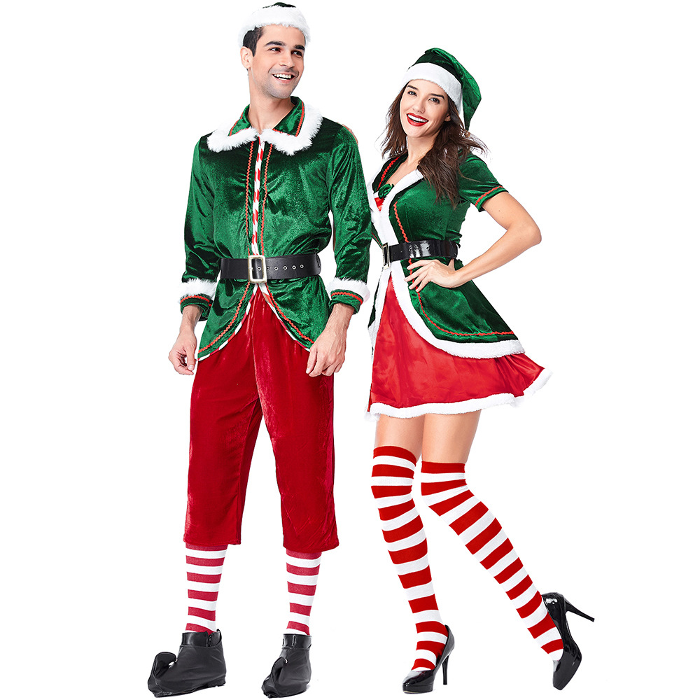 2018 New Design Christmas Couples Costume Green Wizard Suit  Cosplay Clothers For Men And Women Parties  Role-Playing