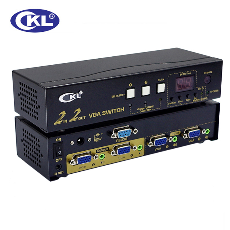 CKL-222R High-end VGA Switch Splitter with Audio 2 in 2 out. 2048*1536 450MHz for PC Monitor wih IR Remote, RS232 Control
