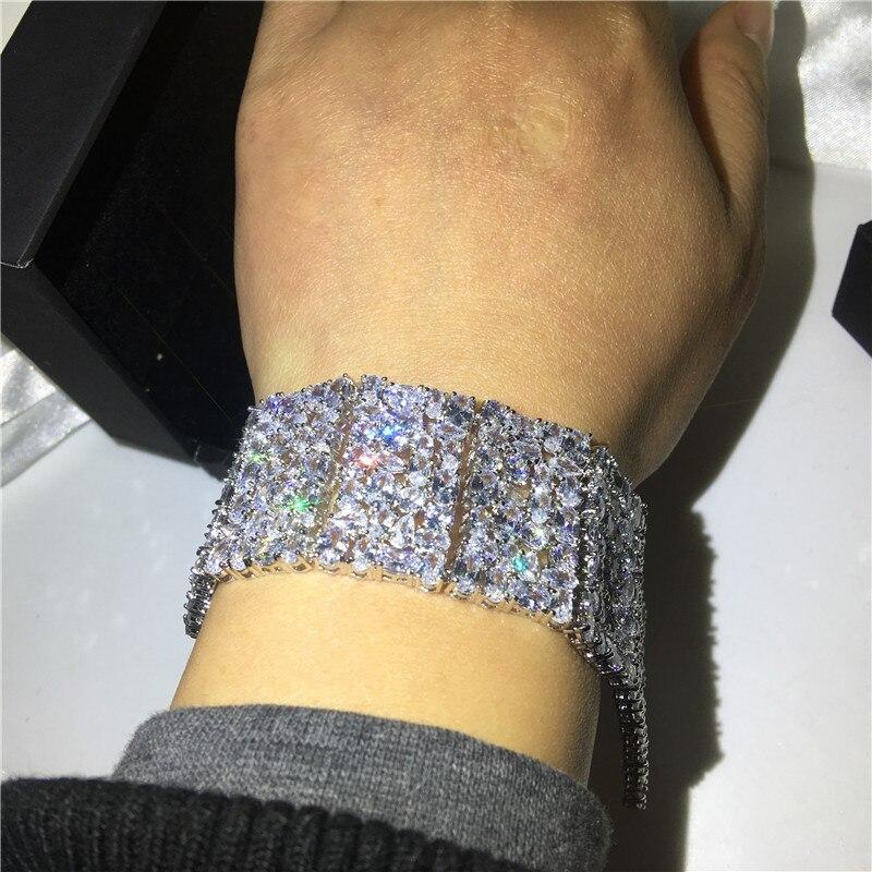 Роскошные браслеты choucong, белое золото, заполненный Mutil AAAAA cz, серебряный цвет, вечерние, свадебный браслет для женщин, свадебный подарок, шири... - 6