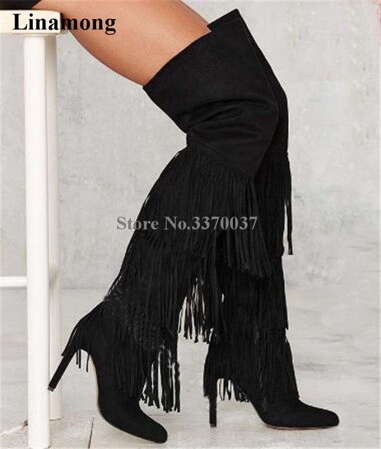 ac8fbb3a2ed2 Women Fashion Pointed Toe Black Suede Leather Long Tassels Over Knee Boots  Charming Fringes High Heel Long Boots