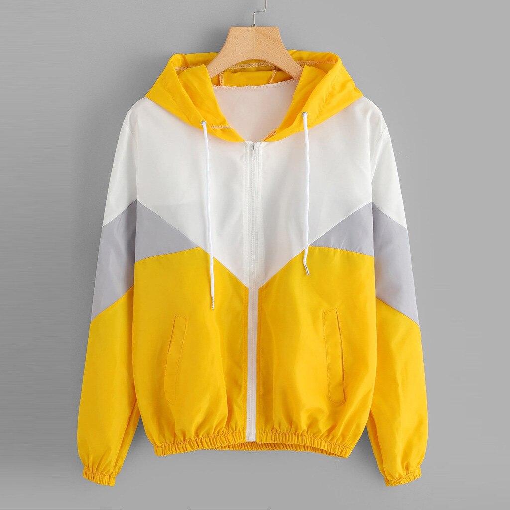 woman hoodies long sleeve hoody Patchwork Hooded Zipper Pockets Casual Sport Coat hoodies sudadera mujer толстовка женская#XP30