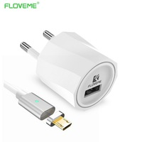 FLOVEME 5V 1A Deaktop Charger For IPhone Android Phone USB Charger Magnetic Cable Micro USB Data