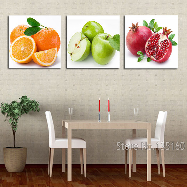 3 Piece Modern Fruit Paintings Fruits Art Prints Kitchen Dinning Deco Apple  Orange Pomegranate Wall Picture