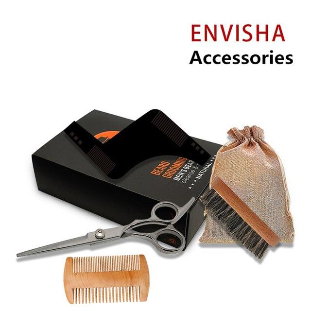 7pcs/set Men Barba Beard Kit Styling Tool Beard Essence Oil Comb Moustache Balm Moisturizing Wax Styling Scissors Beard Care Set 4