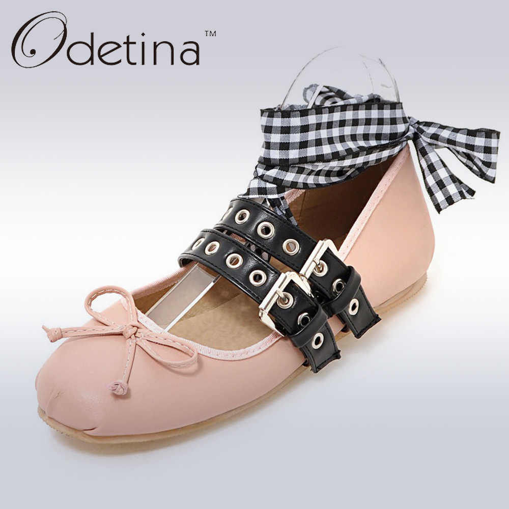 8499b086dbf4 Odetina 2018 New Spring Brand Women Ballet Flats With Straps Bowknot Lace  Up Falt Shoes Double