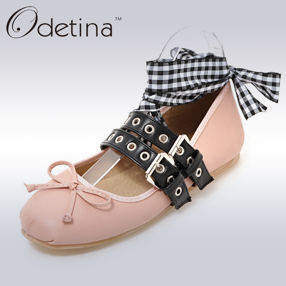 Odetina 2018 New Spring Brand Women Ballet Flats With Straps Bowknot Lace Up Falt Shoes Double Buckle Ballerinas Big Size 32-48 odetina 2017 brand fashion women casual flat spring shoes pointed toe ballet flats bowknot slip on loafers ballerinas plus size
