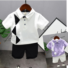 Children Clothes Summer Sport Suit Baby Boys Clothes Turn down Collar Shirt+Shorts Outfit Kids Clothes Toddler Boys Clothing Set 2018 children cotton pajamas set boys girls cardigan turn down collar solid color clothing kids air conditioning suit homewears