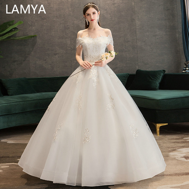 LAMYA Customized Elegant Appliques Wedding Dresses Boat Neck Lace Up Bride Gowns Princess Ball Gown Vestido De De Noiva