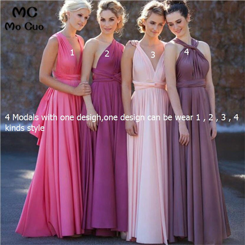 Promotion 2018 Cheap Maid of Honor One   dress   with 4 Different Style Wedding Guest   Dress   with Sashes Long   Bridesmaid     Dresses