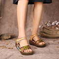 Comfortable women sandals thick heels genuine leather shoes hollow out peep toe women beach shoes