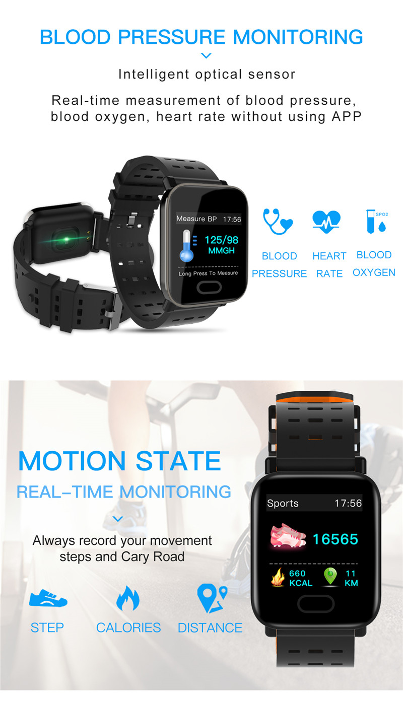 Smart Watch A6 Men Women Heart Rate Monitor Sport Fitness Tracker Blood  Pressure Waterproof SmartWatch For IOS Android