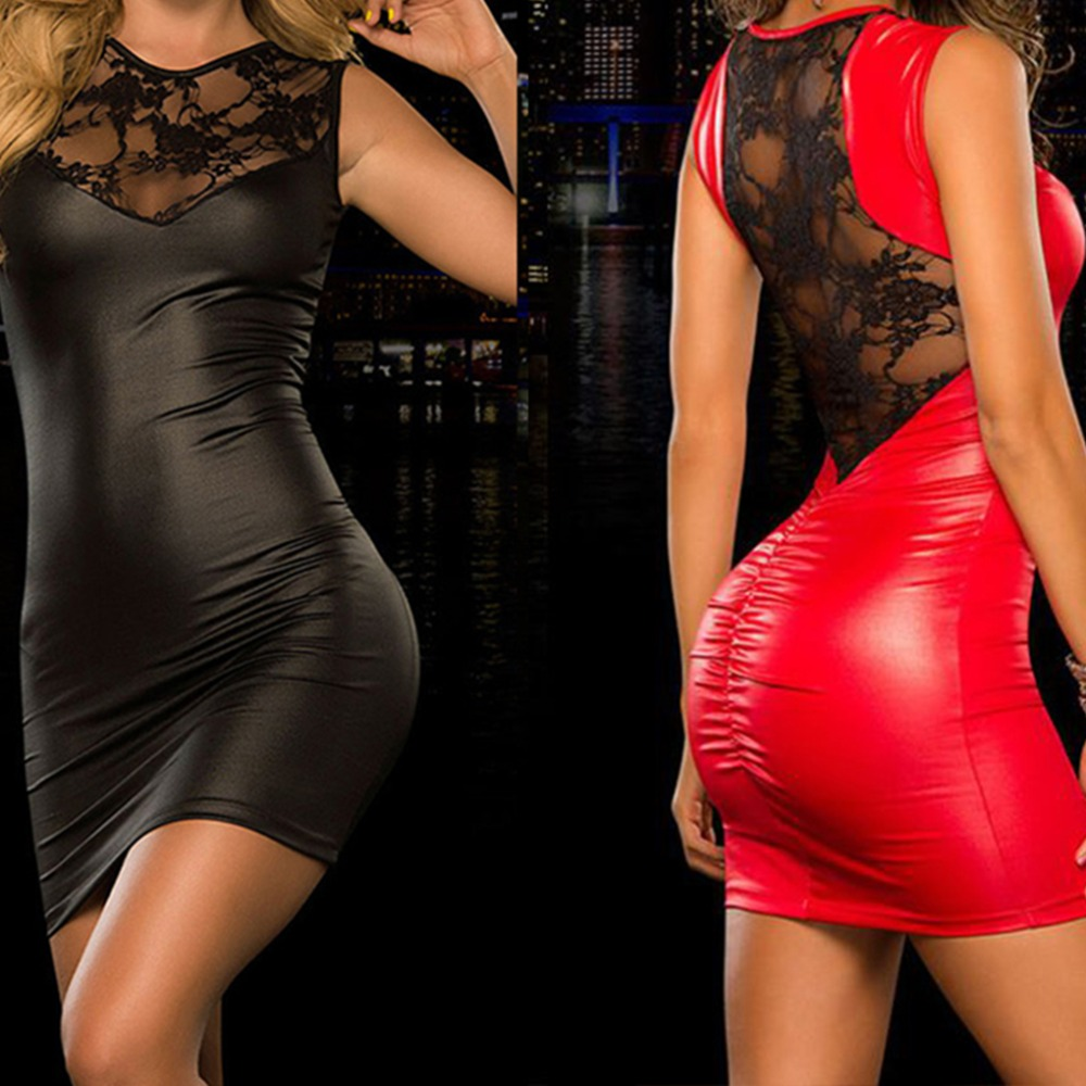 Plus size 4XL clubwear dress leatherTight-fitting sexy Lace Dress slim Wet Look Fetish Bondage Vinyl PVC dress Leather Bodycon plus size women in leather