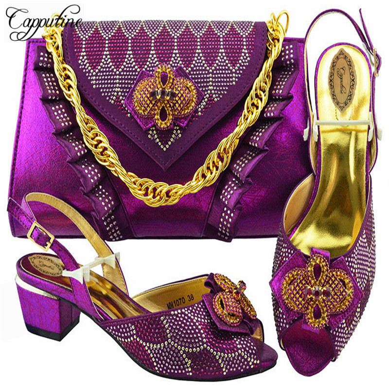 Capputine African Style Ladies Pumps Shoes And Bag Set Summer Fashion Rhinestone High Heels Shoes And Bag Set For Party M1070 capputine africa style shoes and bag set fashion woman high heels pumps shoes and bag set for party free shipping bch 27